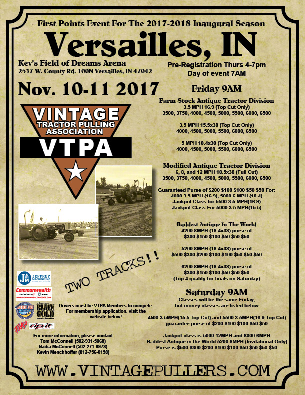 Presenting the VTPA Inaugural Event -Versailles, IN – The